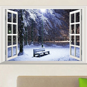 3D Window View Winter at Night Wall Stickers Art Decal Mural