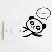 2pcs Funny Panda Switch Sticker Wall Toilet Decal Wallpaper Home Decor Living Room Bedroom Kids Baby Room Decoration