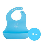 Soft Silicone Roll up Baby/Toddler Bibs Creatively Designed By Monkey Loves Tom - Food Catcher Pocket, Waterproof and Easy to Clean.