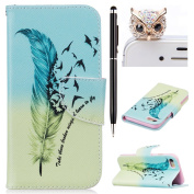 iPhone 7 Case,iPhone 7 Leather Wallet Case Feather Birds,Felfy Colourful Pattern Premium Folio Leather Wallet Case for iPhone 7,Flip PU Leather Bookstyle Stand Case with Magnetic Closure Credit Card Holder Slots Cover Case for Apple iPhone 7 12cm w ..