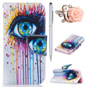 iPhone 7 Case,iPhone 7 Leather Wallet Case Art Eye,Felfy Colourful Pattern Premium Folio Leather Wallet Case for iPhone 7,Flip PU Leather Bookstyle Stand Case with Magnetic Closure Credit Card Holder Slots Cover Case for Apple iPhone 7 12cm with Si ..