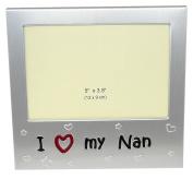 Photo Frame - I Love My Nan - Picture Size 13cm x 8.9cm - Brushed Aluminium Silver Colour