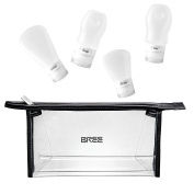 Aira by BREE black transparent toiletry bag with refillable silicone bottles