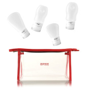 Aira by BREE red transparent toiletry bag with refillable silicone bottles