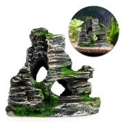Stebcece Mountain View Rockery Hiding Cave Tree Aquarium Fish Tank Ornament Decoration