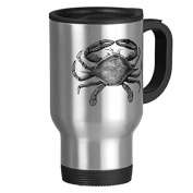 Travel Mug with Handle Unique Vintage Crab Drawing Travel Mugs for Men Coffee Cup for Mom Dad Friends Christmas Presents