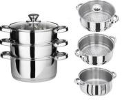 STAINLESS STEEL STEAMER 3PC 22CM COOKER POT SET GLASS LIDS 3 TIER PAN COOK FOOD