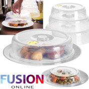 SET OF 5 VENTILATED MICROWAVE FOOD PLATE COVERS LIDS SPLATTER GUARD PLATE COVER (FUSION)