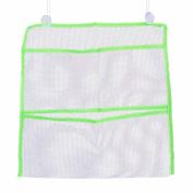 3 Pockets Wall Bathroom Bath Toy Storage Organiser Mesh Bag Pouch with Vacuum Suction Cups Quantity 1 Random Colour