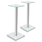 Anself Glass Speaker Stand (Each with 1 Silver Pillar) Set of 2