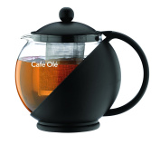 Café Ole Everyday Round Tea Pot Infuser Basket Glass Teapot Loose leaf, Black, 750 ml/0.75 Litre