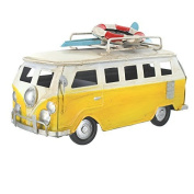 Retro Small Shabby Chic Camper Van With Surfboard And Life Belt On Roof Rack - Yellow