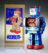 """ME100 Mr D-Cell Blue Tin collectible retro tin robot. """"Robot Electron"""""""