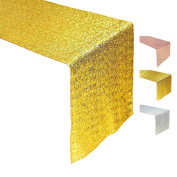 sourcingmap® Gold Sequin Table Runner For Wedding And Event 30cm by 270cm