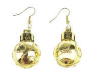 Festive Fun Novelty Christmas Ornament Bauble Drop Earrings Gold