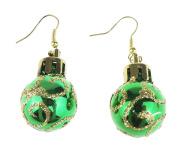 Festive Fun Novelty Christmas Ornament Bauble Drop Earrings Green