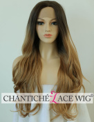 Chantiche Wavy Wigs for Women Long Synthetic Hair Ombre Brown Roots Blonde Lace Front Wig uk for Women High Quality Heat Resistant Fibre Half Hand Tied 60cm