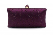 Flada Evening Clutch Bags with Full Crystal Diamonds for Ladies Wedding Prom Party Wine