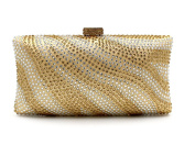 Flada Crystal Evening Clutch Purse Bags for Women with Striped Zebra Gold