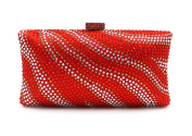 Flada Crystal Evening Clutch Purse Bags for Women with Striped Zebra Red