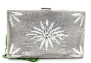 Flada Luxury Crystal Evening Clutch for Women Purse Bags Silver