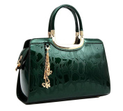 Yan Show Women's New Patent Leather Shoulder Bags Embossed Totes Stone Pattern Handbags Butterfly Pendant