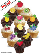 PRE-CUT FRUITS MIX EDIBLE RICE / WAFER PAPER CUPCAKE CAKE TOPPERS PARTY BIRTHDAY DECORATIONS