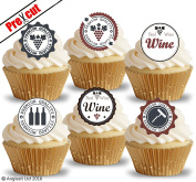 PRE-CUT BEST WINE BADGES EDIBLE RICE / WAFER PAPER CUPCAKE CAKE TOPPERS BIRTHDAY MOTHER'S DAY FATHER'S DAY PARTY DECORATIONS