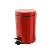 Bathroom Pedal Bin With Inner Bucket - 3 Litre Bin - Red Finish