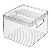 InterDesign 2-Piece Kitchen Bin with Removable Divided Tray For Food Storage - Clear