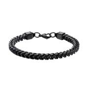 Inox Jewellery BR11416K Rounded Franco Chain Stainless Steel Bracelet IP Black