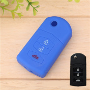 Tuqiang® Key for Mazda 1pc Blue 3 Buttons Silicone Key Cover Car Key Cover Case