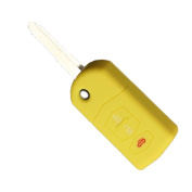 Tuqiang® Key for Mazda 1pc Yellow 3 Buttons Silicone Key Cover Car Key Cover Case