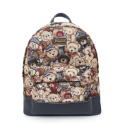 Danny Bear Soft PU Leather With Fabric Large Laptop Bookbag Hiking Travel Schoolbag