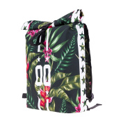 Backpack Courier School Roll-Top Bag Travel Hiking Tropical 00 Stars