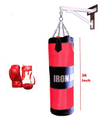Heavy MMA Boxing Punch Bag w/ White Wall Bracket Mount Hanger with Iron Hook and Boxing Gloves