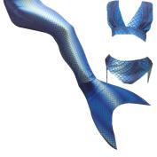 Xyfushi Girl's Swimming Wear 3 Pcs Set Includes Top Panties Mermaid Tail