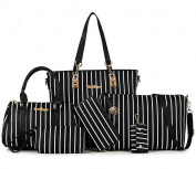Yiyida Leather Women Handbag Set Vertical bar Pattern Ladies Hobo Crossbody Bag and Purse 6pcs, Black