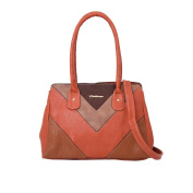 FAUX LEATHER NEW LADIES CONTRAST ANGULAR QUILTING DESIGN TOTE SHOULDER BAG