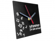TechAffect ® Clock - Whatever I'm Late Anyway - Novelty Desktop Clock Clock - Black Square Face with White Hands and Words
