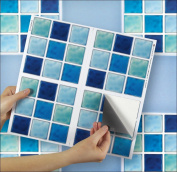 """AQUATAINE sheet of 4 Transfer Tile Stickers for 6"""" x 6"""" (15cm x 15cm) tiles 3M Self Adhesive sheet of four tile sticker transfers for Kitchens & Bathrooms Fully wipeable, steam and heat resistant, non see through material. 35 NEW STYLES available from .."""