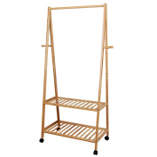 Songmics Height 152 cm Bamboo Garment Rack Coat Clothes Hanging Rail 2 Trays 4 Hooks for Shoe and Hat Rack 69.5 x 152 x 43 cm RCR52N