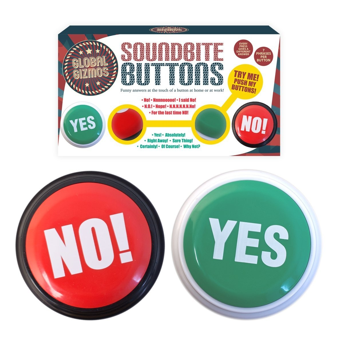 Global Gizmos 127810cm Battery Operated Yes and No Buttons Seven Different  Ways to Say