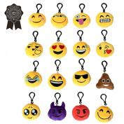 Mini emoji-pop 5.1cm plush toy pillow, emoji keychain, kids Party Supplies Favours, 16 Pack
