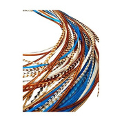 Feather Hair Extensions, 100% Real Rooster Feathers, Long Natural and Turquoise Blue Colours, 20 Feathers with Bonus FREE Beads and Loop Tool Kit NAT