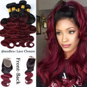 "XCCOCO Body Wave 1B Burgandy Lace Closure with Bundles Brazilian Virgin Hair 3 bundles with 4""x4""Lace Frontal Ombre Two Tone Lace Closure and Hair Bundles Wefts Extensions"