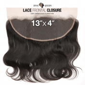 Diva Queen 100% Virgin Human Hair Unprocessed Brazilian Weave 13x 4 Lace Frontal Closure Natural Body (NATURAL)
