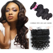XCCOCO Hair 3Bundles and Lace Closure Brazilian Body Wave Human Hair Extension 8A Body Wave Human Hair bundles with Lace Frontal With Baby Hair Virgin Hair Wefts Extensions