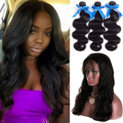 """GEFINE Hair 8A grade 100% Virgin Brazilian Human Hair 3 Bundles With 360 lace Frontal closure body wave 60cm x 10cm x 2"""" 360 degree Natural Hairline free part lace frontal 16 16 16+36cm"""
