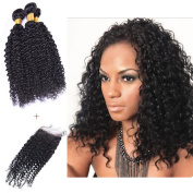 XCCOCO Hair Curly Sexy Hair Kinky Curl Brailian Curly Hair 3 Bunldes Curly Wave Lace Frontal with 3 bundles 4X4 Free Part Lace Closure with Baby Hair For Black Women